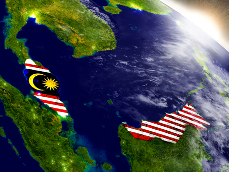 Malaysia with embedded flag on planet surface during sunrise. 3D illustration with highly detailed realistic planet surface and visible city lights.