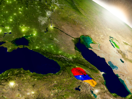 armenian: Armenia with embedded flag on planet surface during sunrise. 3D illustration with highly detailed realistic planet surface and visible city lights.