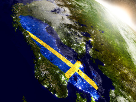 sverige: Sweden with embedded flag on planet surface during sunrise. 3D illustration with highly detailed realistic planet surface and visible city lights. Stock Photo