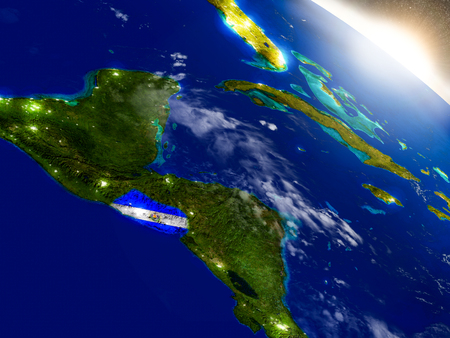 El Salvador with embedded flag on planet surface during sunrise. 3D illustration with highly detailed realistic planet surface and visible city lights. Stock Photo