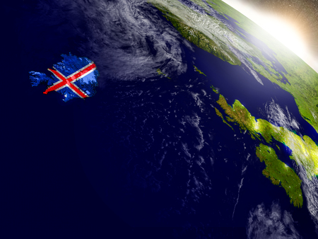 Iceland with embedded flag on planet surface during sunrise. 3D illustration with highly detailed realistic planet surface and visible city lights.