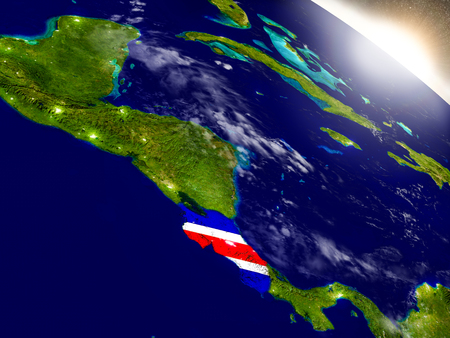 Costa Rica with embedded flag on planet surface during sunrise. 3D illustration with highly detailed realistic planet surface and visible city lights. Banco de Imagens