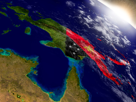 Papua New Guinea with embedded flag on planet surface during sunrise. 3D illustration with highly detailed realistic planet surface and visible city lights.
