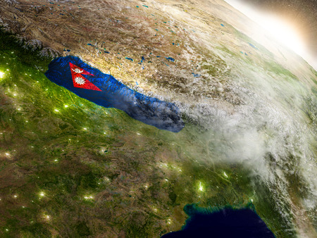 nepali: Nepal with embedded flag on planet surface during sunrise. 3D illustration with highly detailed realistic planet surface and visible city lights.
