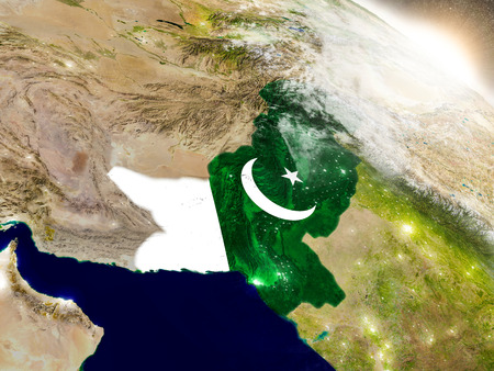 flag of pakistan: Pakistan with embedded flag on planet surface during sunrise. 3D illustration with highly detailed realistic planet surface and visible city lights.