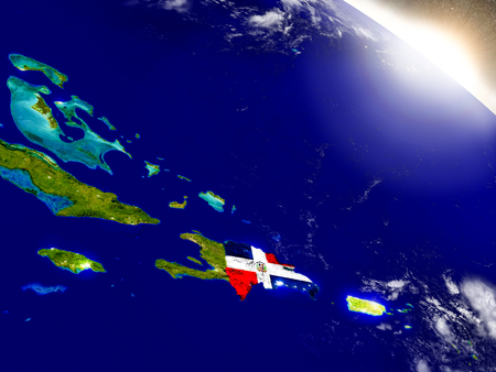 Dominican Republic with embedded flag on planet surface during sunrise. 3D illustration with highly detailed realistic planet surface and visible city lights.
