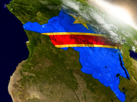Democratic Republic of Congo with embedded flag on planet surface during sunrise. 3D illustration with highly detailed realistic planet surface and visible city lights.