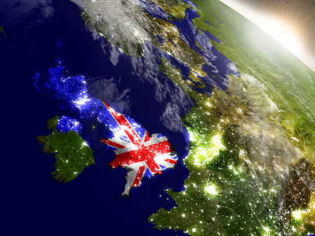 briton: United Kingdom with embedded flag on planet surface during sunrise. 3D illustration with highly detailed realistic planet surface and visible city lights. Stock Photo