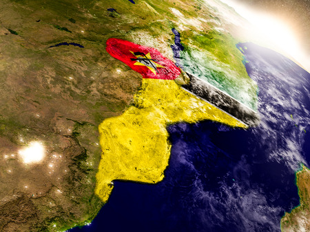 Mozambique with embedded flag on planet surface during sunrise. 3D illustration with highly detailed realistic planet surface and visible city lights.