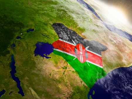 Kenya with embedded flag on planet surface during sunrise. 3D illustration with highly detailed realistic planet surface and visible city lights.