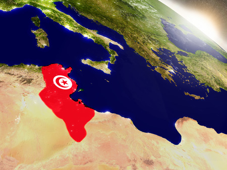 Tunisia with embedded flag on planet surface during sunrise. 3D illustration with highly detailed realistic planet surface and visible city lights.