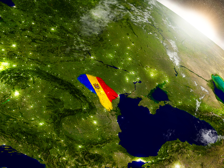 Moldova with embedded flag on planet surface during sunrise. 3D illustration with highly detailed realistic planet surface and visible city lights.