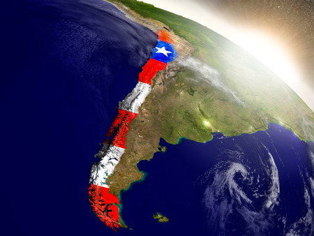 bandera chilena: Chile with embedded flag on planet surface during sunrise. 3D illustration with highly detailed realistic planet surface and visible city lights. Foto de archivo