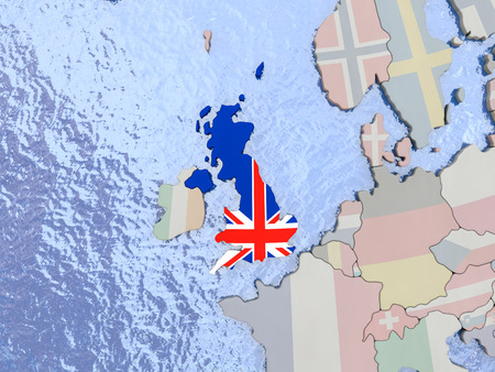 Map of United Kingdom with national flag on political globe with realistic water. 3D illustration