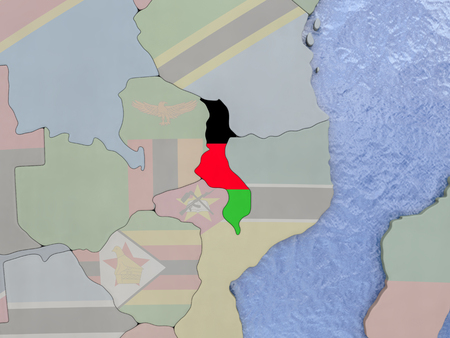 malawian flag: Map of Malawi with national flag on political globe with realistic water. 3D illustration
