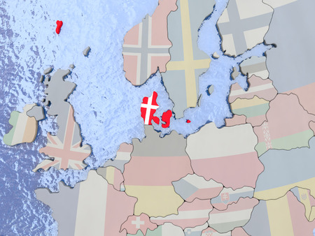 dane: Map of Denmark with national flag on political globe with realistic water. 3D illustration
