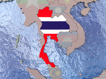 Map of Thailand with national flag on political globe with realistic water. 3D illustration