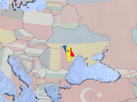 moldovan: Map of Moldova with national flag on political globe with realistic water. 3D illustration