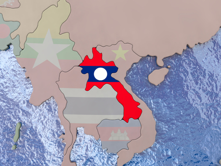 Map of Laos with national flag on political globe with realistic water. 3D illustration