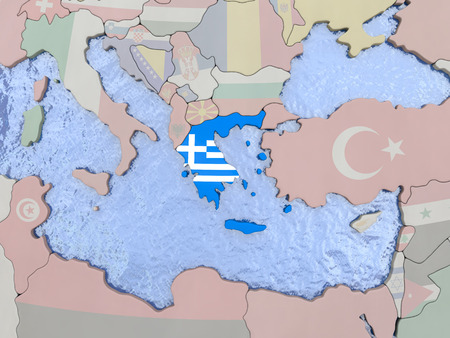 hellenic: Map of Greece with national flag on political globe with realistic water. 3D illustration