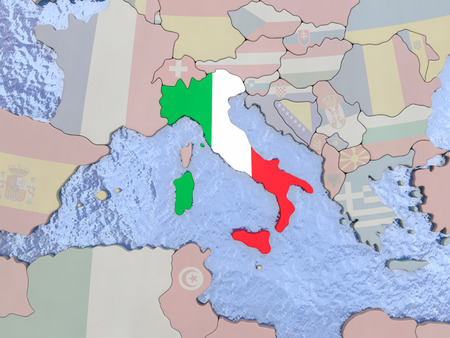 italian politics: Map of Italy with national flag on political globe with realistic water. 3D illustration