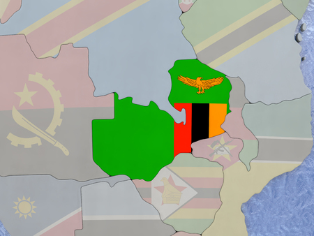 zambian flag: Map of Zambia with national flag on political globe with realistic water. 3D illustration