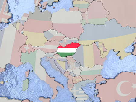 magyar: Map of Hungary with national flag on political globe with realistic water. 3D illustration Stock Photo