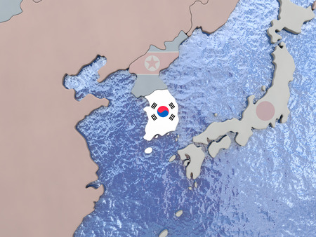 korean national: Map of South Korea with national flag on political globe with realistic water. 3D illustration