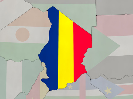 chadian: Map of Chad with national flag on political globe with realistic water. 3D illustration