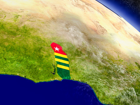 Flag of Togo on planet surface from space. 3D illustration with highly detailed realistic planet surface and clouds in the atmosphere.
