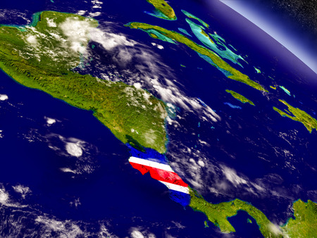Flag of Costa Rica on planet surface from space. 3D illustration with highly detailed realistic planet surface and clouds in the atmosphere. Banco de Imagens