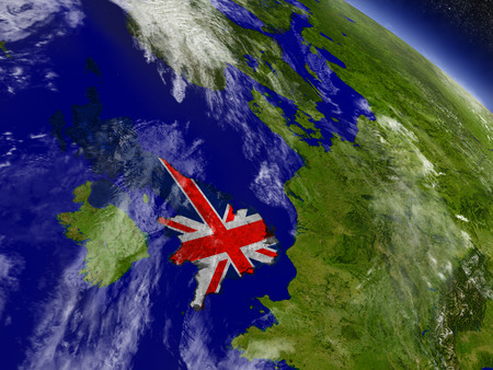 Flag of United Kingdom on planet surface from space. 3D illustration with highly detailed realistic planet surface and clouds in the atmosphere. Stock Photo