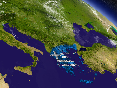 Flag of Greece on planet surface from space. 3D illustration with highly detailed realistic planet surface and clouds in the atmosphere. Stock Photo