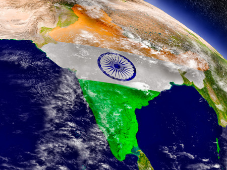 physical geography: Flag of India on planet surface from space. 3D illustration with highly detailed realistic planet surface and clouds in the atmosphere. Stock Photo