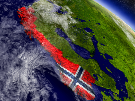 Flag of Norway on planet surface from space. 3D illustration with highly detailed realistic planet surface and clouds in the atmosphere. Stock Photo