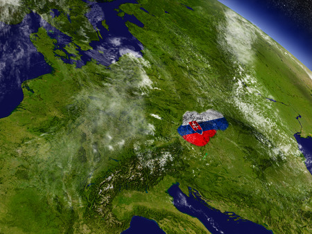 Flag of Slovakia on planet surface from space. 3D illustration with highly detailed realistic planet surface and clouds in the atmosphere.