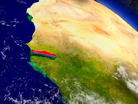 Flag of Gambia on planet surface from space. 3D illustration with highly detailed realistic planet surface and clouds in the atmosphere.