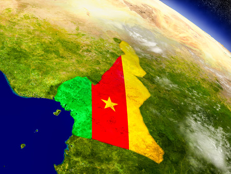 Flag of Cameroon on planet surface from space. 3D illustration with highly detailed realistic planet surface and clouds in the atmosphere.