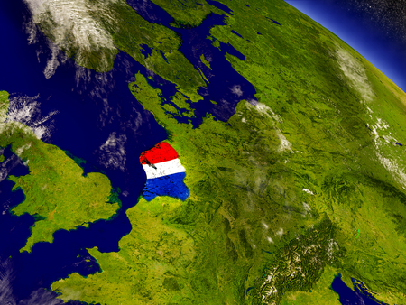 Flag of Netherlands on planet surface from space. 3D illustration with highly detailed realistic planet surface and clouds in the atmosphere. Elements of this image furnished by NASA. Stock Photo
