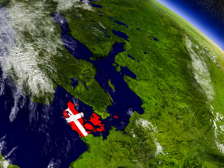 Flag of Denmark on planet surface from space. 3D illustration with highly detailed realistic planet surface and clouds in the atmosphere.