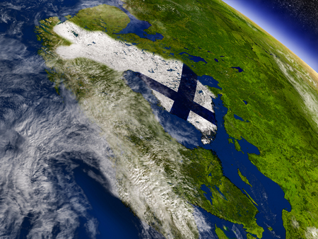 Flag of Finland on planet surface from space. 3D illustration with highly detailed realistic planet surface and clouds in the atmosphere.