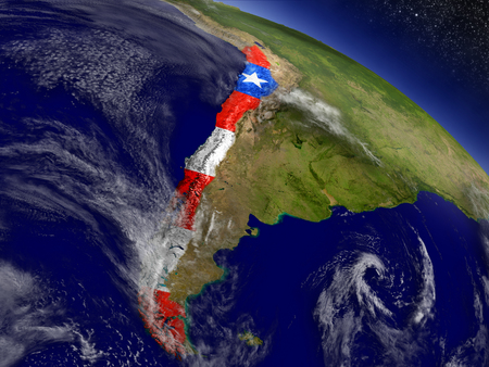 bandera chilena: Flag of Chile on planet surface from space. 3D illustration with highly detailed realistic planet surface and clouds in the atmosphere. Foto de archivo