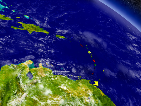Flag of Caribbean on planet surface from space. 3D illustration with highly detailed realistic planet surface and clouds in the atmosphere.