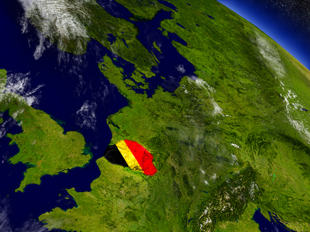 Flag of Belgium on planet surface from space. 3D illustration with highly detailed realistic planet surface and clouds in the atmosphere.
