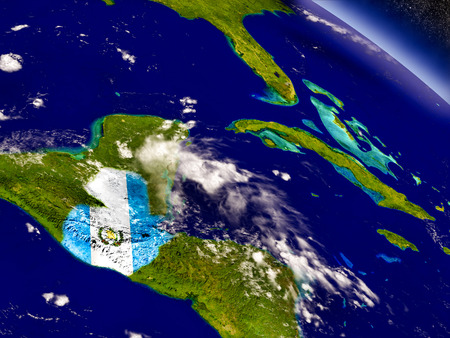 bandera de guatemala: Flag of Guatemala on planet surface from space. 3D illustration with highly detailed realistic planet surface and clouds in the atmosphere.