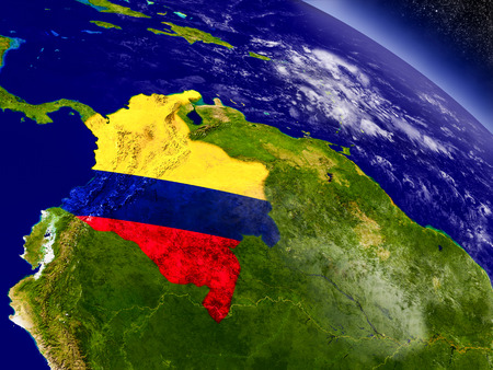 republic of colombia: Flag of Colombia on planet surface from space. 3D illustration with highly detailed realistic planet surface and clouds in the atmosphere. Stock Photo