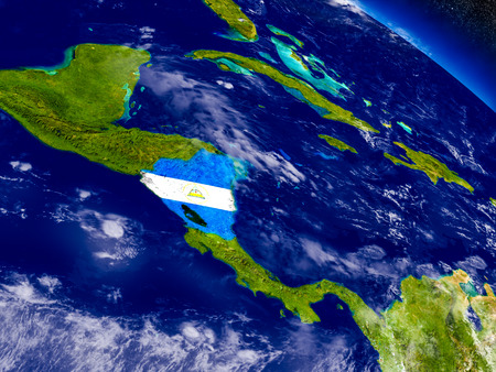 nicaragua: Flag of Nicaragua on planet surface from space. 3D illustration with highly detailed realistic planet surface and clouds in the atmosphere. Elements of this image furnished by NASA. Stock Photo