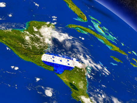 Flag of Honduras on planet surface from space. 3D illustration with highly detailed realistic planet surface and clouds in the atmosphere. Elements of this image furnished by NASA. Stock Photo