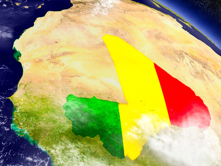mali: Flag of Mali on planet surface from space. 3D illustration with highly detailed realistic planet surface and clouds in the atmosphere. Stock Photo