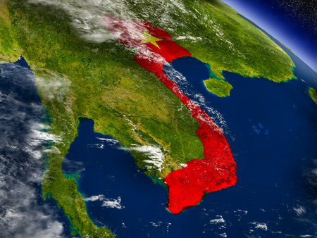 Flag of Vietnam on planet surface from space. 3D illustration with highly detailed realistic planet surface and clouds in the atmosphere.